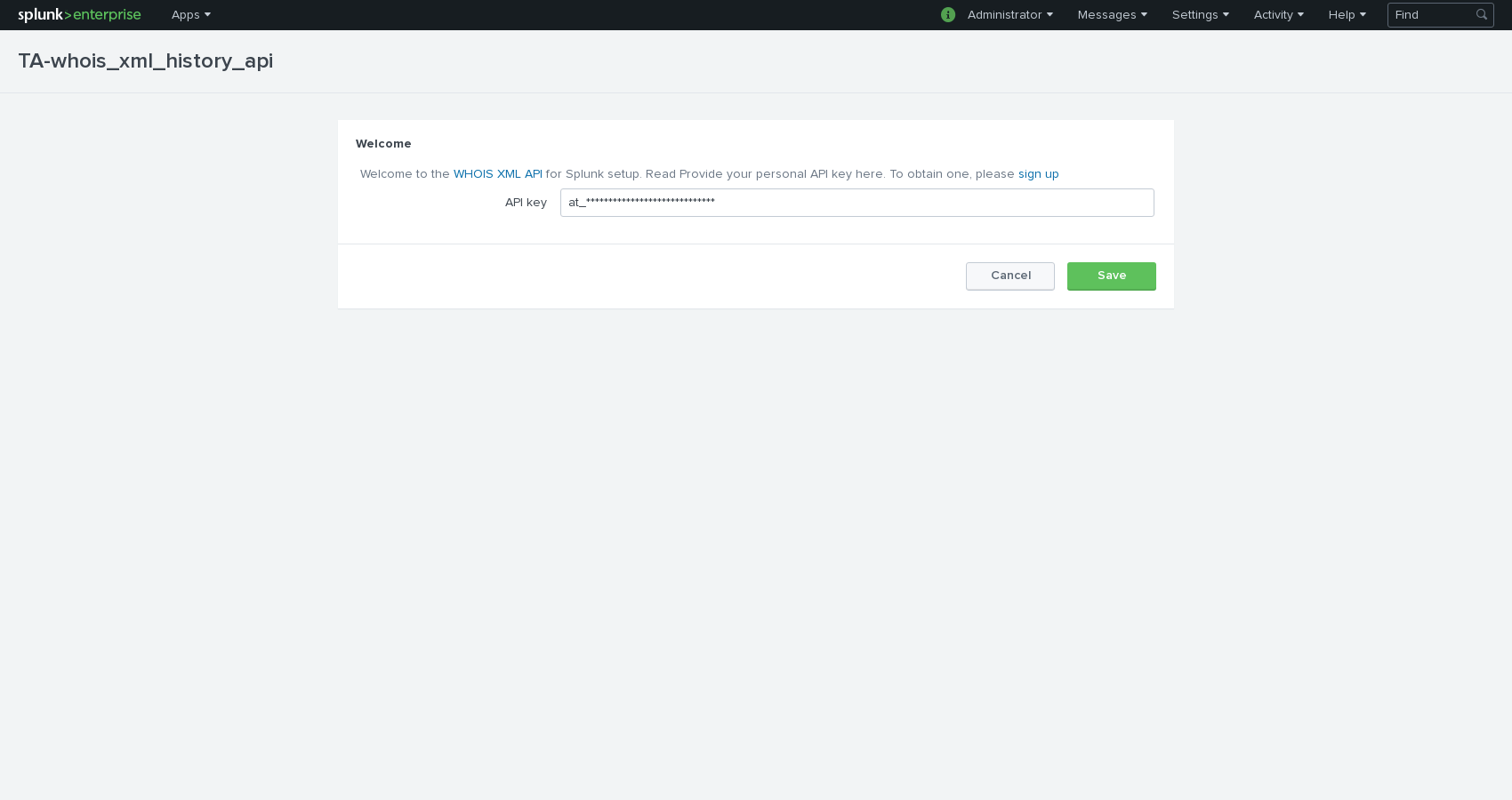 Fill in your API key and click on Save.